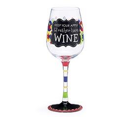 KEEP YOUR APPLE/TEACHER WINE GLASS