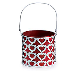 """4"""" LACE HEART PLANTER WITH HANDLE"""