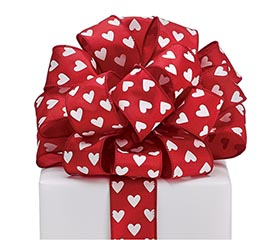 #9 WHITE HEARTS RED SATIN WIRED RIBBON