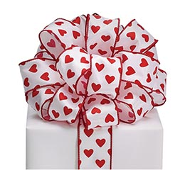 #9 RED HEARTS WHITE SATIN WIRED RIBBON