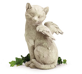 STONE RESIN ANGEL CAT FIGURINE