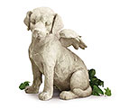 STONE RESIN ANGEL DOG FIGURINE