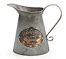 FLOWERS  GARDEN GALVANIZED TIN PITCHER
