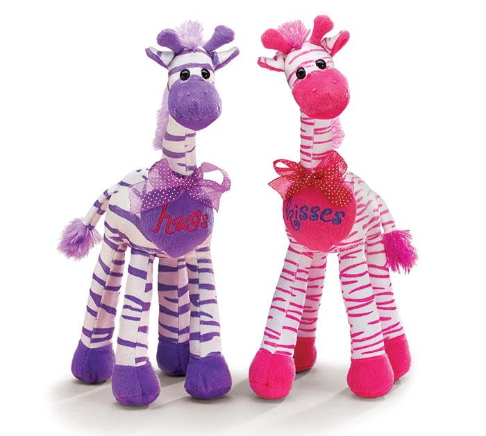 PLUSH HOT PINK PURPLE STRIPED GIRAFFE
