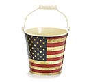 "4"" PATRIOTIC RUSTIC FLAG TIN PAIL"