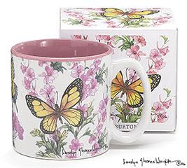 BUTTERFLIES/FLOWERS CERAMIC MUG W/BOX