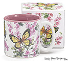 BUTTERFLIES/FLOWERS CERAMIC MUG W/BOX