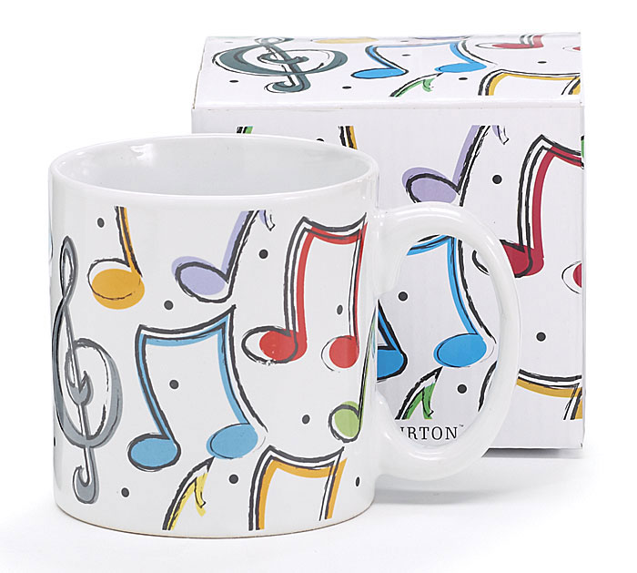 COLORFUL MUSIC NOTES CERAMIC MUG W/BOX