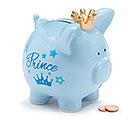 BLUE CERAMIC PRINCE PIG BANK