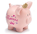 PINK PRINCESS CERAMIC PIG BANK