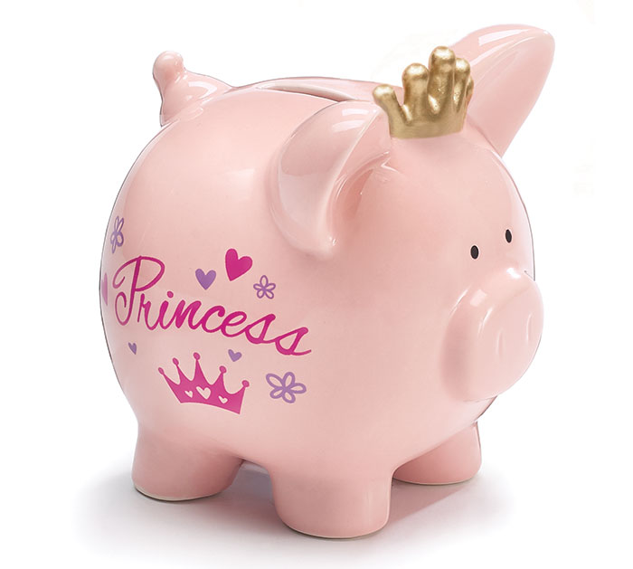 PINK PRINCESS CERAMIC PIG BANK