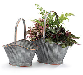 GALVANIZED TIN BASKET WITH HANDLE SET
