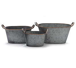 GALVANIZED TIN NESTED DOUBLE PLANTER SET