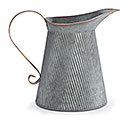 GALVANIZED METAL EMBOSSED PITCHER
