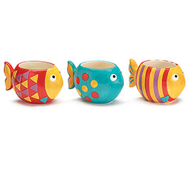 SUMMER FISH CERAMIC PLANTER SET