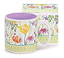 WATERCOLOR FLOWERS CERAMIC MUG W/BOX