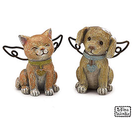 DOG/CAT RESIN ANGEL FIGURINE SET