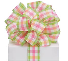 #9 SPRING PLAID WIRED FABRIC RIBBON