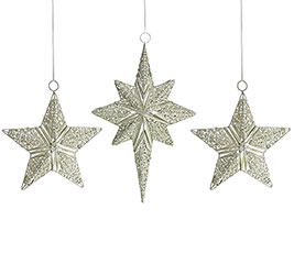 TIN CHAMPAGNE GLITTER STAR ORNAMENT SET