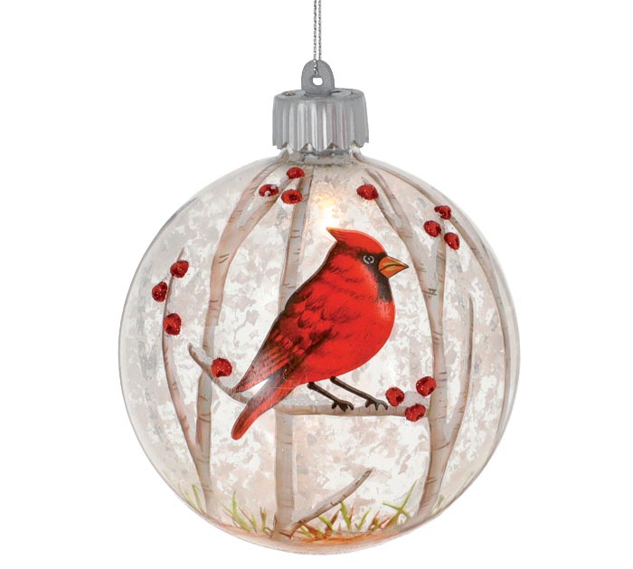 LED RED CARDINAL CHRISTMAS ORNAMENT