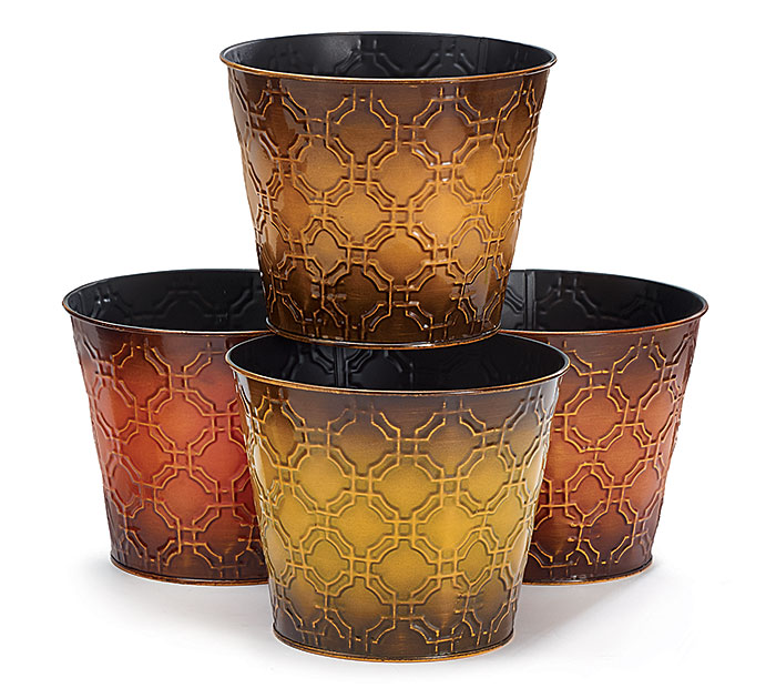 "6"" FALL EMBOSSED TIN POT COVER SET"