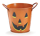 "4"" PUMPKIN FACE HALLOWEEN TIN POT COVER"