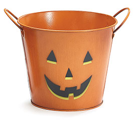 "6"" PUMPKIN FACE HALLOWEEN TIN POT COVER"