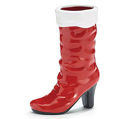 MRS CLAUS RED BOOT SHAPE VASE