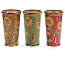 LARGE PORCELAIN SUNFLOWER VASE SET