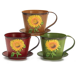 FALL TEACUP SHAPED TIN PLANTER SET