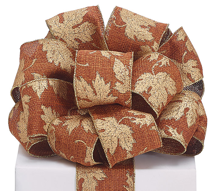#40 BROWN/GOLD LEAVES WIRED RIBBON