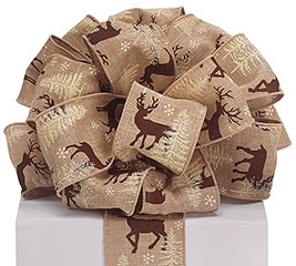 #40 DEER PRINT BURLAP WIRED RIBBON