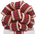 #40 KHAKI AND PLAID WIRED RIBBON