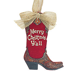 MERRY CHRISTMAS Y'ALL BOOT ORNAMENT