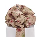 #40 GLITTER SNOWFLAKE LINEN WIRED RIBBON