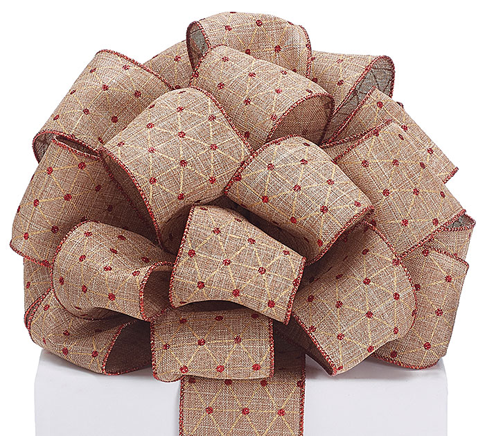 #40 RED GLITTER DOTS ON BROWN RIBBON