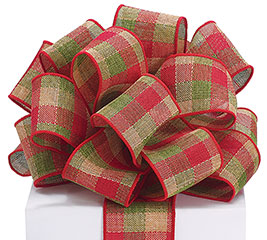 #40 WOVEN CHRISTMAS PLAID WIRED RIBBON