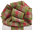 #100 CHRISTMAS GREEN PLAID RIBBON