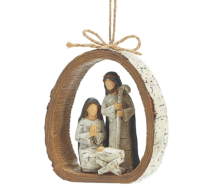 BIRCH BARK RING RESIN HOLY FAMILY ORNAME