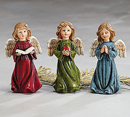 KNEELING RESIN ANGEL GIRL FIGURINE