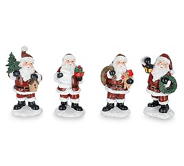 HAND PAINTED RESIN SANTA FIGURINE SET