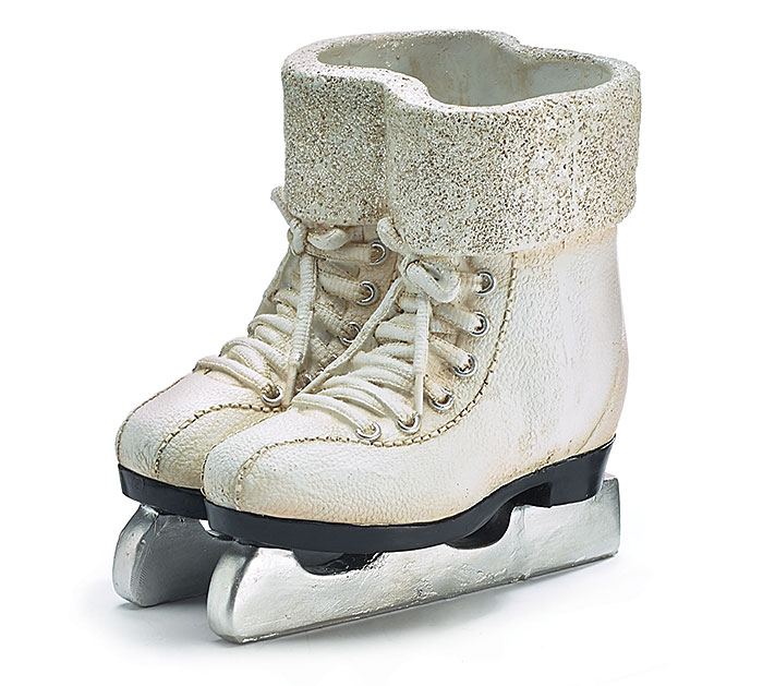 RESIN ICE SKATES VASE