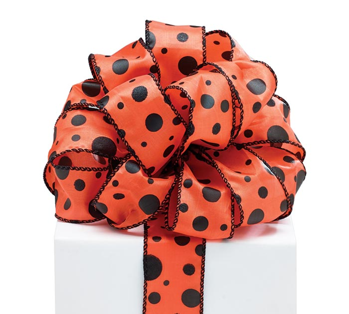 #9 ORANGE WITH BLACK DOTS WIRED RIBBON