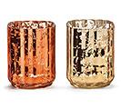 GLASS VASE COPPER/GOLD SCALLOPED EDGE