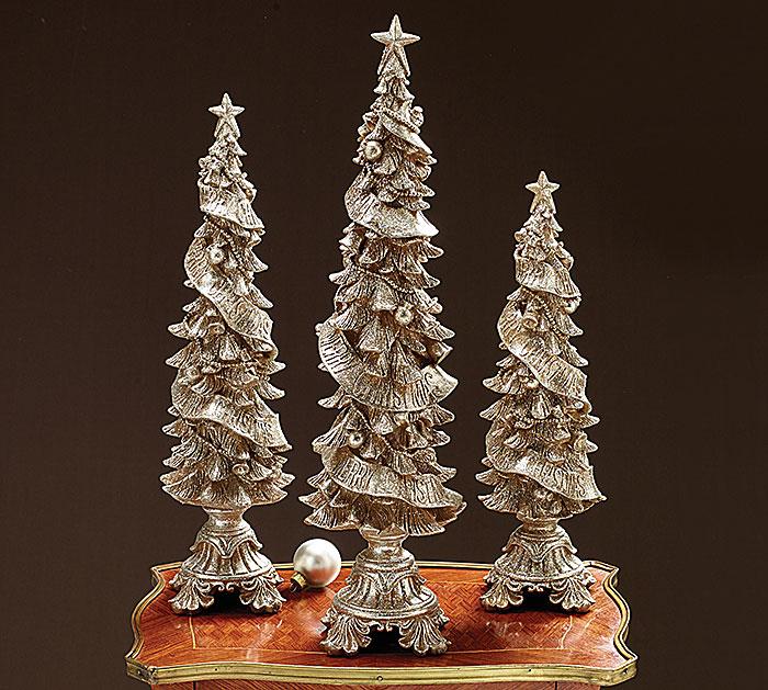 GLITTERED RESIN CHRISTMAS TREE SET