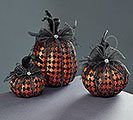 ORANGE MESH/RHINESTONE FOAM PUMPKIN SET