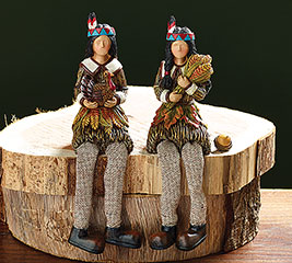 NATIVE AMERICAN COUPLE SHELF SITTER