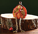 HAND PAINTED RESIN PUMPKIN TURKEY SITTER