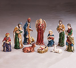 10 PIECE HAND-PAINTED PORCELAIN NATIVITY