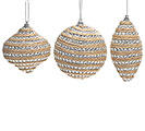 JUTE/SILVER BEAD WRAPPED ORNAMENT SET